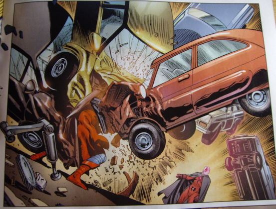 Superman throws one car, Adam Blake throws many cars.