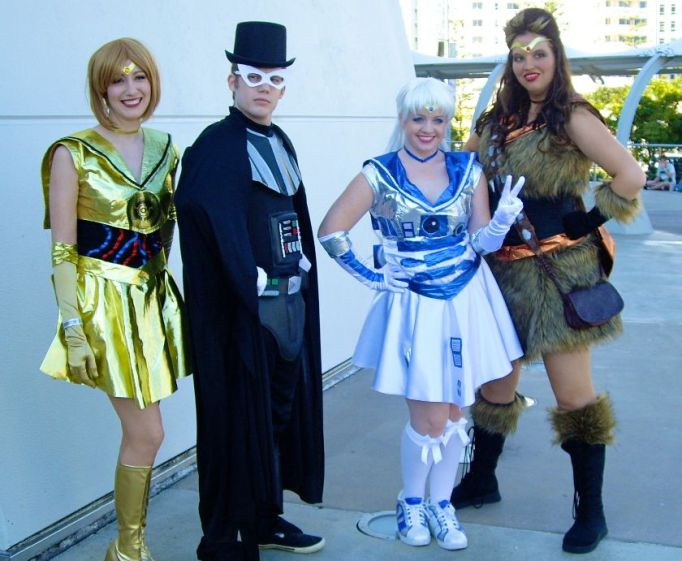 A crossover cosplay: Star Wars characters re-imagined in Sailor Moon costumes.