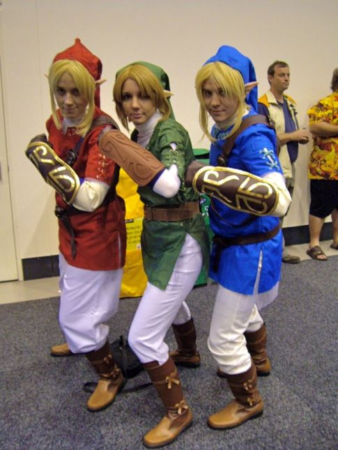 Three versions of Link: Red Goron Tunic, Green Kokori Tunic, and Blue Zora Tunic. (The Legend of Zelda).