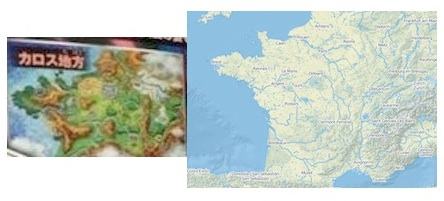 The new region resembles France, albeit at a slight angle. The Map of France is from Open Street maps at http://www.openstreetmap.org/