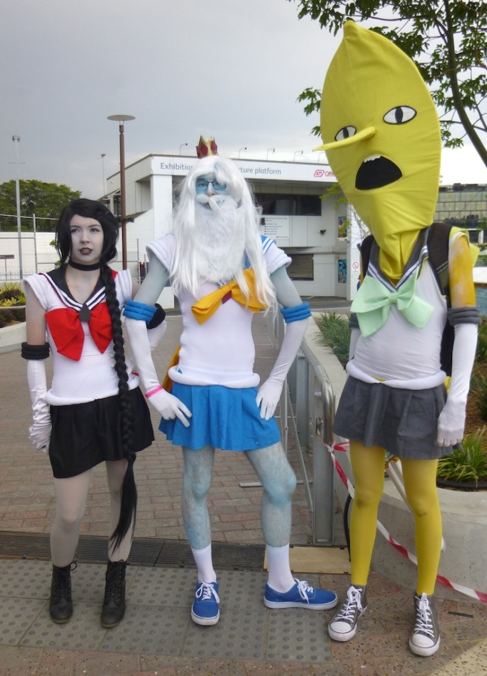 A Sailor Moon, and Adventure Time Crossover: Sailor Marceline, Sailor Ice King, and Sailor Lemon Grab.